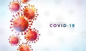 Banner com ilustração do novo coronavírus