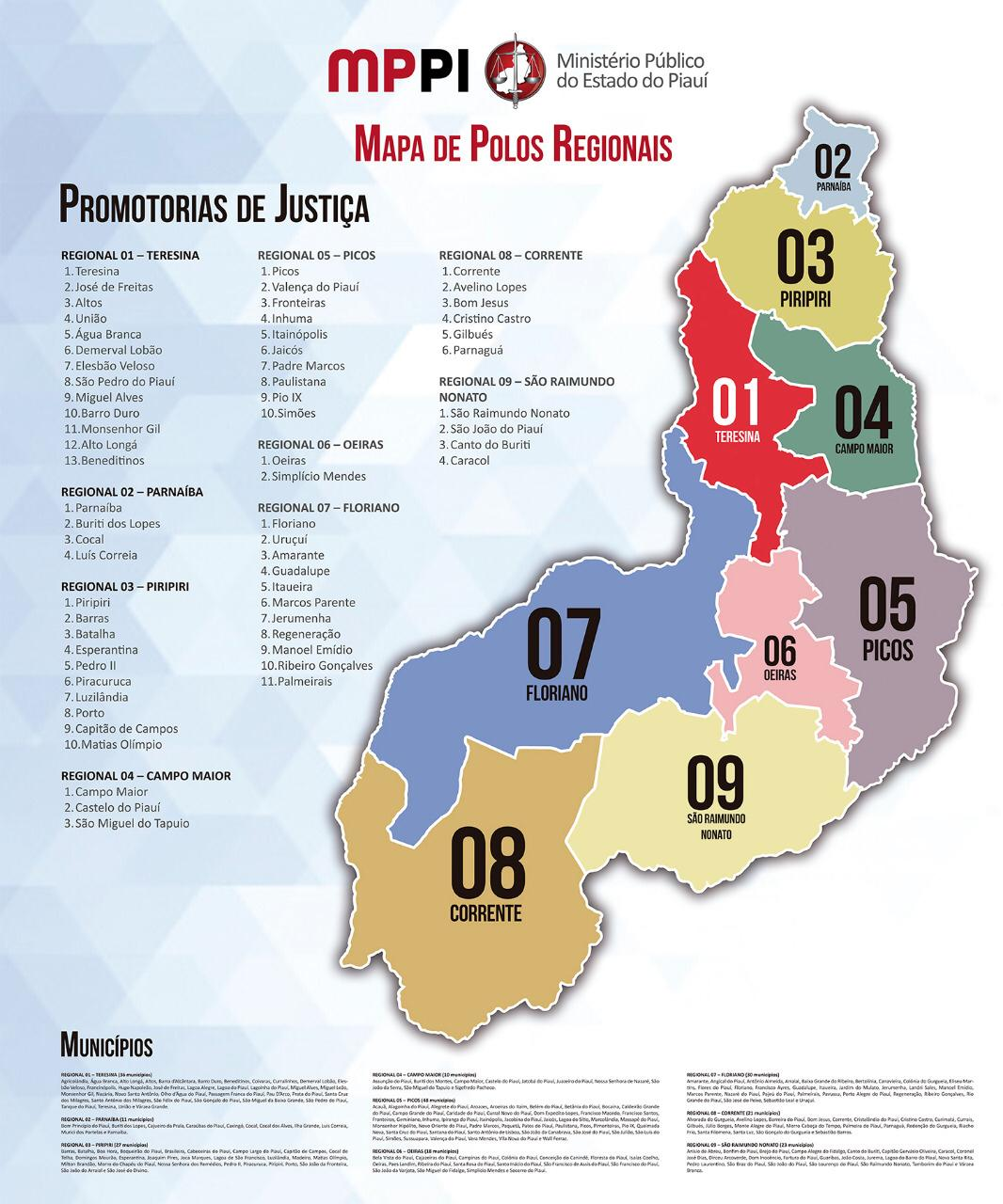 Mapa dos Polos Regionais